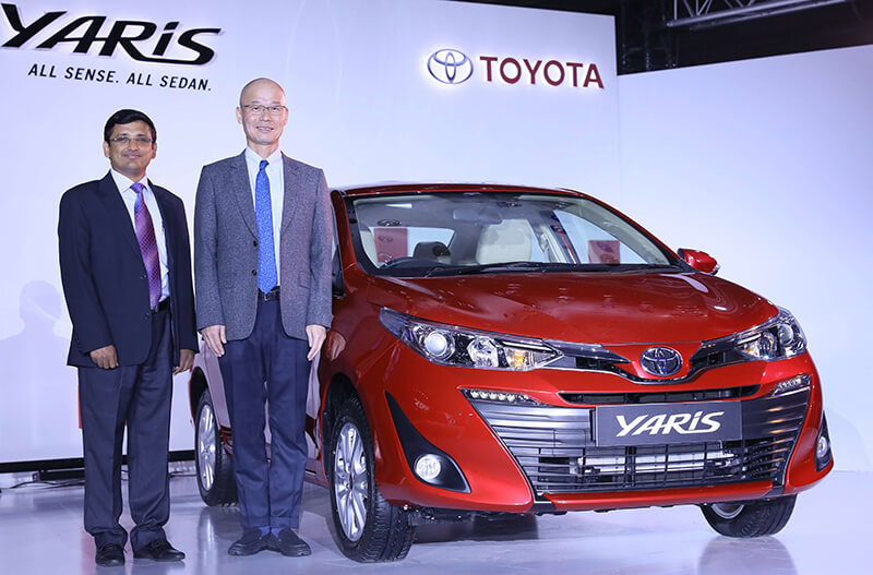 (L to R) Senthil Kendai, General Manager, Toyota Kirloskar Motor and Akito Tachibana, Managing Director, Toyota Kirloskar Motor at the launch of Toyota Yaris in Bengaluru.